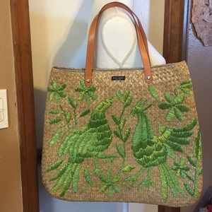 NWOT: Kate Spade straw tote with green woven birds